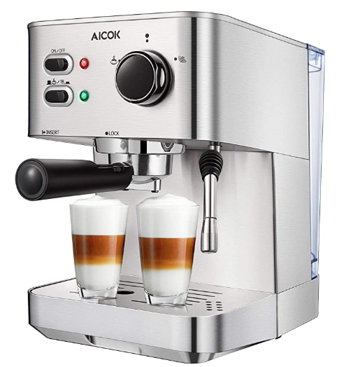 Aicok Espresso Machine Espresso and Cappuccino 15 Bar